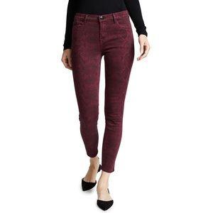 J Brand Snakeskin 'Boa Oxblood' Skinny Jeans